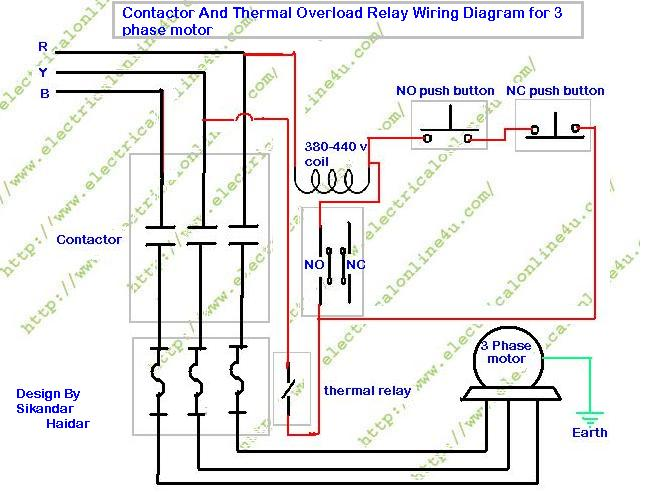 how to wire contactor and overload relay contactor wiring diagram rh electricalonline4u com Reversing Motor Relay Wiring Diagram overload relay wiring diagram pdf