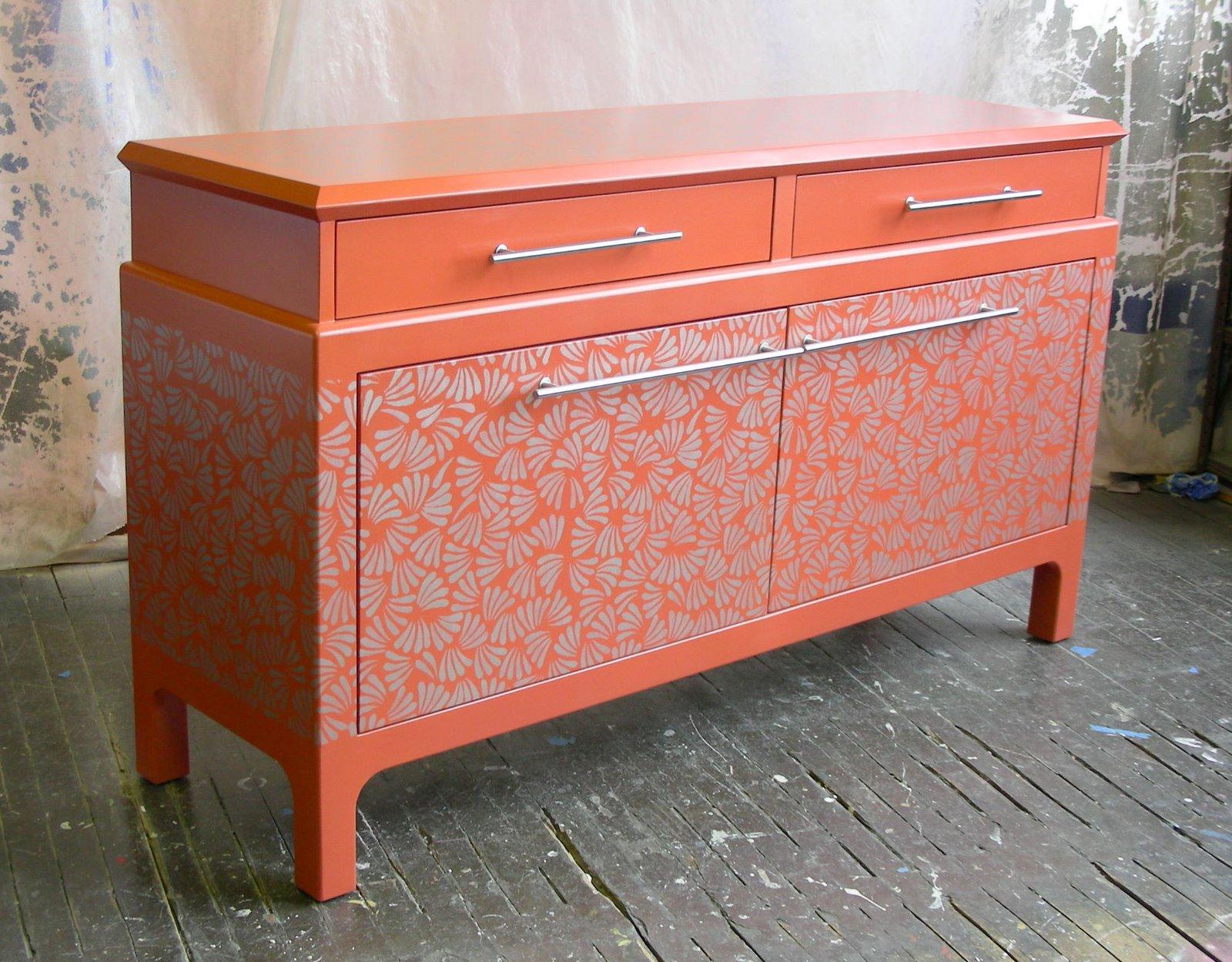 Sydney Barton - Painted Furniture: Orange Asian Style Buffet