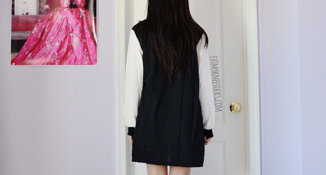 Back view of the oversized baggy longline colorblocked baseball jacket from Dresslink.