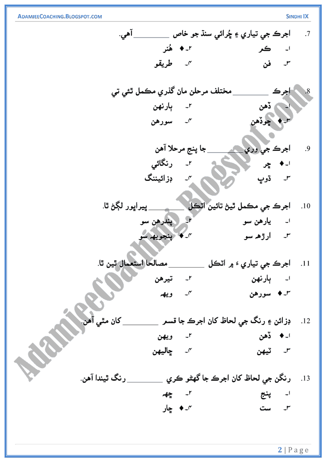 ajrak-multiple-choice-questions-sindhi-notes-for-class-9th