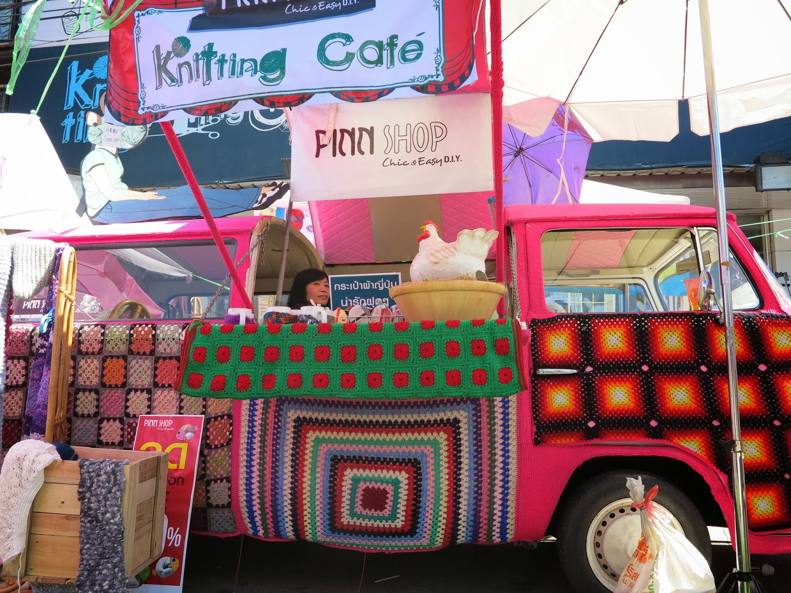 ByHaafner, crochet, granny squares, yarn bombing Thailand