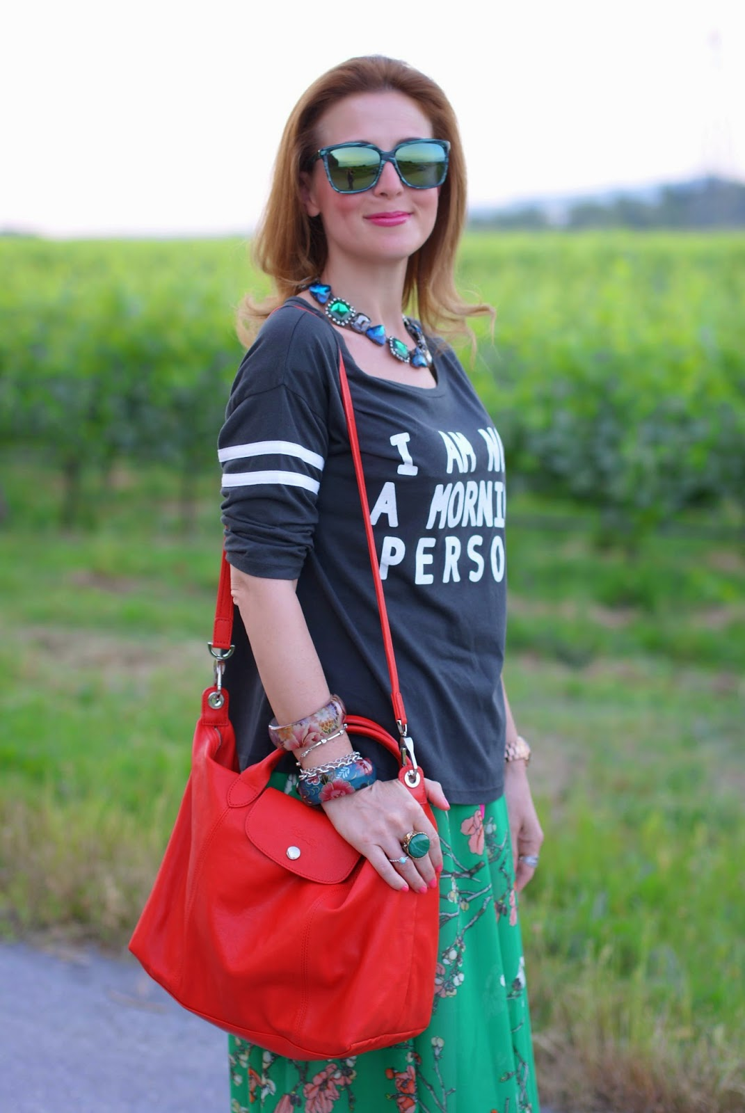 Not a morning person t-shirt, HYPE GLASS occhiali da sole, Longchamp Le Pliage cuir, Fashion and Cookies, fashion blogger