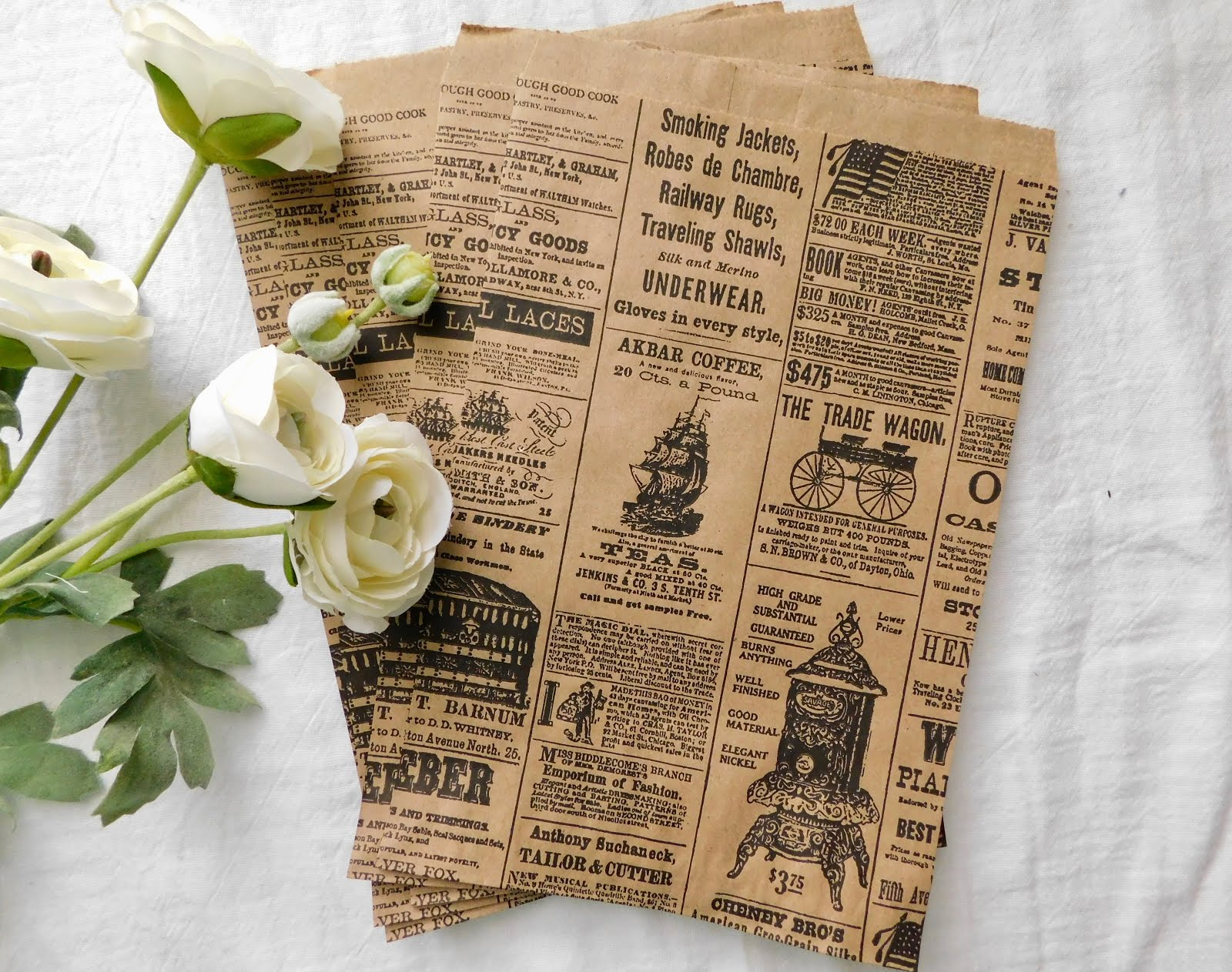 "Newsprint  6"" x 9"" Flat Paper Bags - Set of 5 -  Price $2.25"