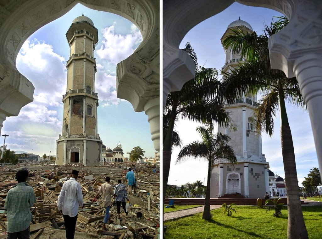This combo shows a file photo, left, taken on Dec. 28, 2004 of debris scattered across the grounds of Banda Aceh's Baiturrahaman mosque in Aceh province, located on Indonesia's Sumatra island where surrounding houses and buildings were heavily damaged and coastal villages wiped out in the aftermath of the massive Dec. 26, 2004 tsunami trigerred by an earthquake, and the same location photographed on Nov. 27, 2014, right, showing the renovated grounds. Indonesia will mark Dec. 26, 2014 the 10th year anniversary of the deadly tsunami which killed more than 170,000 people in Aceh, and tens of thousands of others in other countries around the Indian Ocean. (AFP Photo/Bay Ismoyo)
