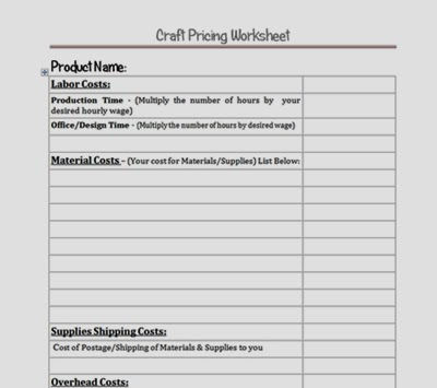 Craft Pricing Worksheet Download