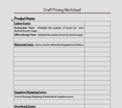 Craft Pricing Worksheet Download