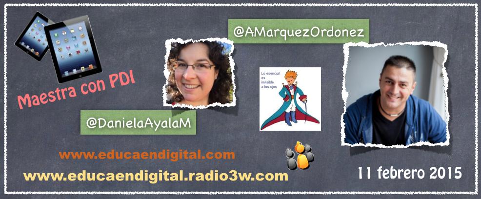 La imagen muestra tablets, links y las fotos del logo del equipo, de Antonio Márquez y de Daniela Ayala