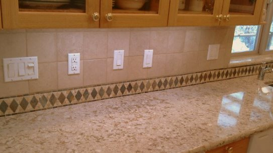 Granite Countertops Through Costco : The perimeter is a liner from Bedrosians , and the porcelain tile ...
