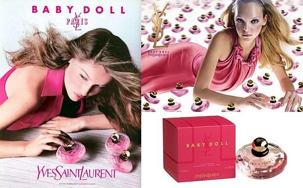 Dwie reklamy Baby Doll oraz flakon z pudełkiem