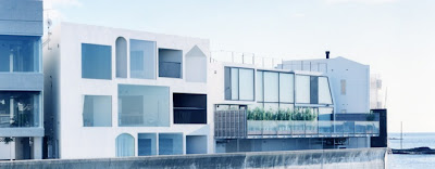 modern japanese house design - cube house architecture - sea side