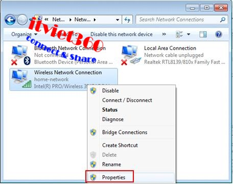 Properties on Windows 7, 8 network and internet, Cách vào Facebook (FB) - Mạng FPT, VNPT, Viettel - mới nhất