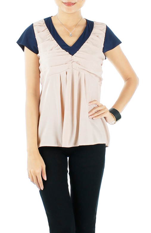 Champagne Swing Blouse With Contrast Detail