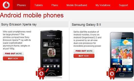 price of vodafone android phones in australia