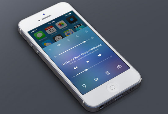iOS 7 Control Center Redesign by Michael Boswell