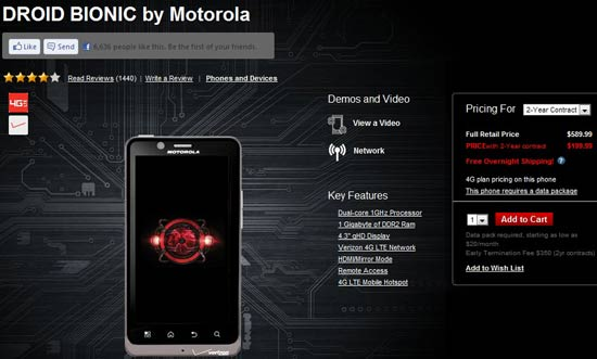 cheapest price of motorola droid bionic on contract