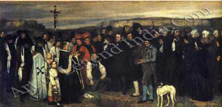 "The Great Artist Gustave Courbet Painting ""Burial at Ornans"" 1849-50 124"" x 263"" Musee d'Orsay, Paris"