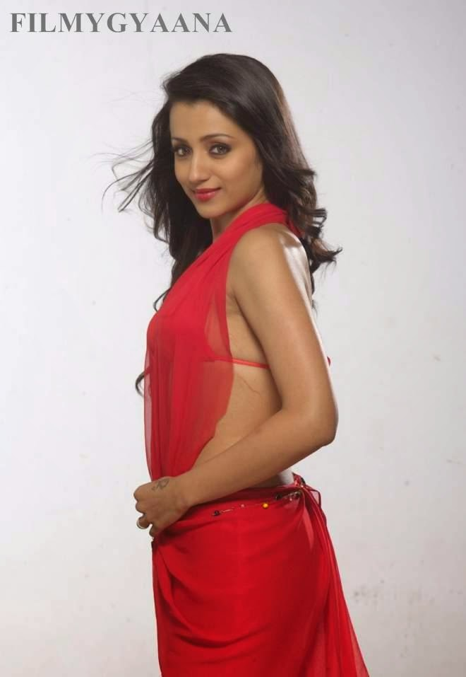trisha backless photos in red sarees