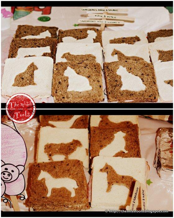 Idee per festa fattoria: Biscotti animali della fattoria e sandwiches