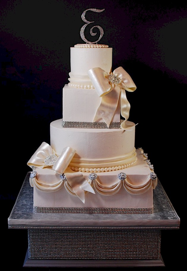 Super Bling Rhinestone Wedding Cake w Stand
