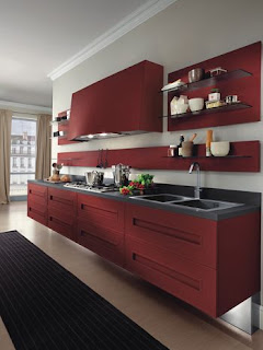 Red Kitchen Cabinets Desgin