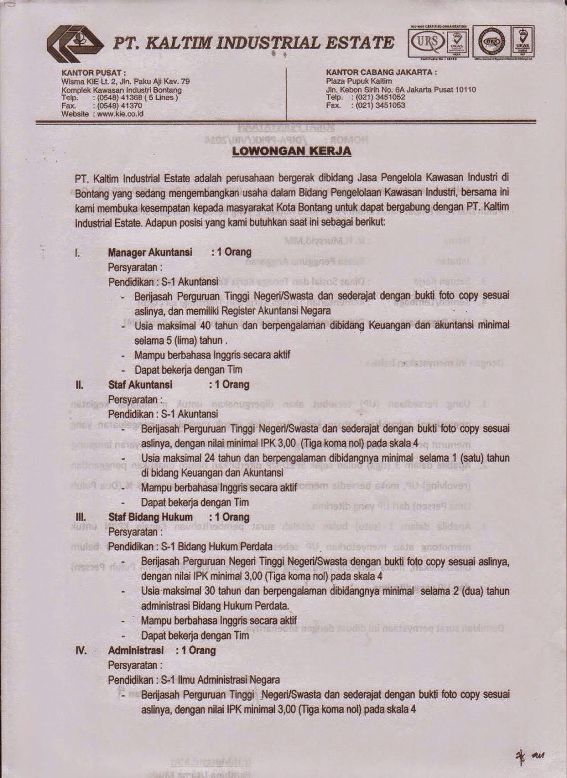 Lowongan Kerja S-1 Akutansi dan Hukum PT KIE Bontang