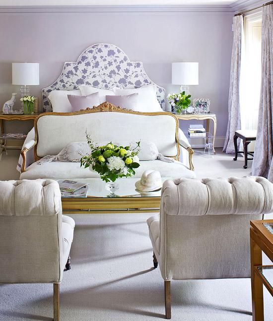 Glamorous Lavender Walls Bedroom