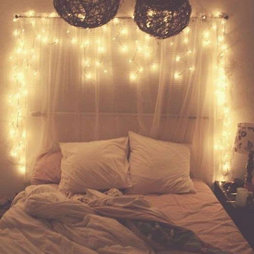 cute pinterest fairy lights headboard. Black Bedroom Furniture Sets. Home Design Ideas
