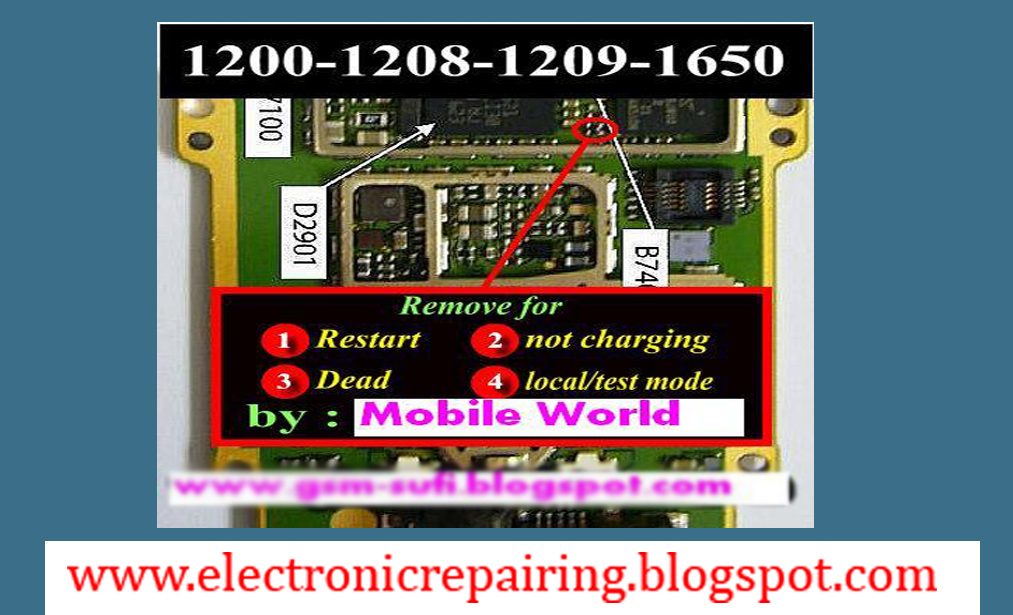 Nokia 1200,1208 not charging solution