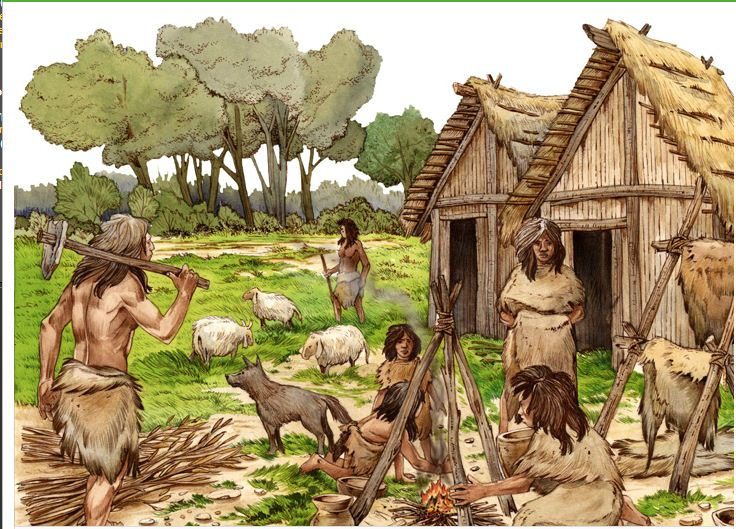 neolithic and industrial revolutions The neolithic revolution, neolithic demographic transition, agricultural revolution, or first agricultural revolution, was the wide-scale transition of many human cultures during the neolithic period from a lifestyle of hunting and gathering to one of agriculture and settlement, making an increasingly larger population.