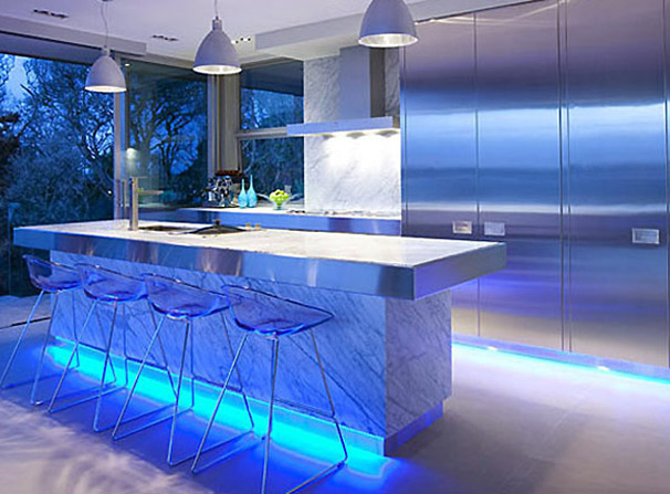 in design magz modern kitchen blue lighting fixtures design