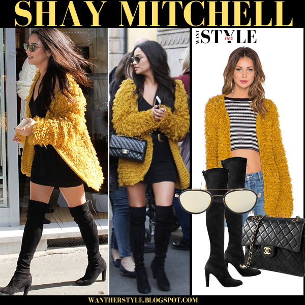 Shay Mitchell in yellow mustard knit cardigan and black suede over the knee boots what she wore streetstyle