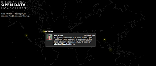 Map of tweets from #odhd13 with tweet from Ottawa highlighted
