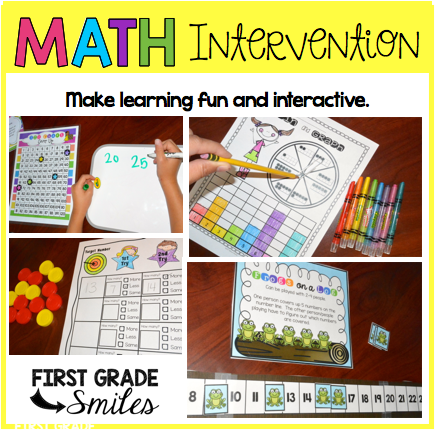 Worksheet Math Intervention Worksheets first grade smiles math intervention part 1 i dont know about you but get bored doing the same thing over and think my students do too wanted more than just worksheets or print