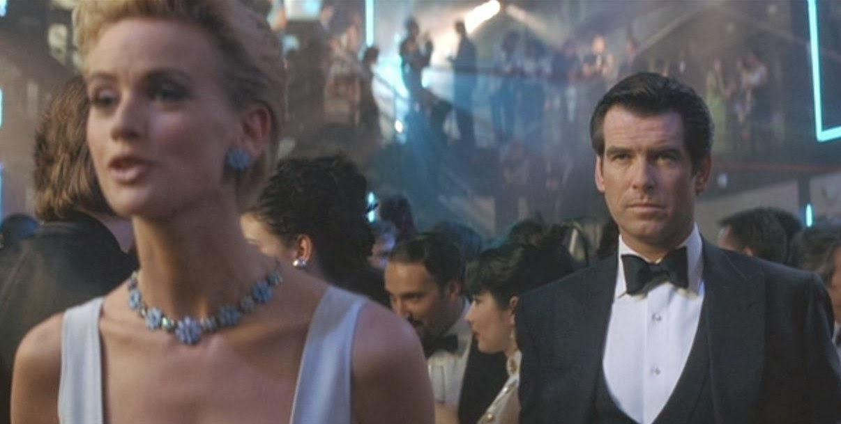 Daphne Deckers with Pierce Brosnan in Tomorrow Never Dies