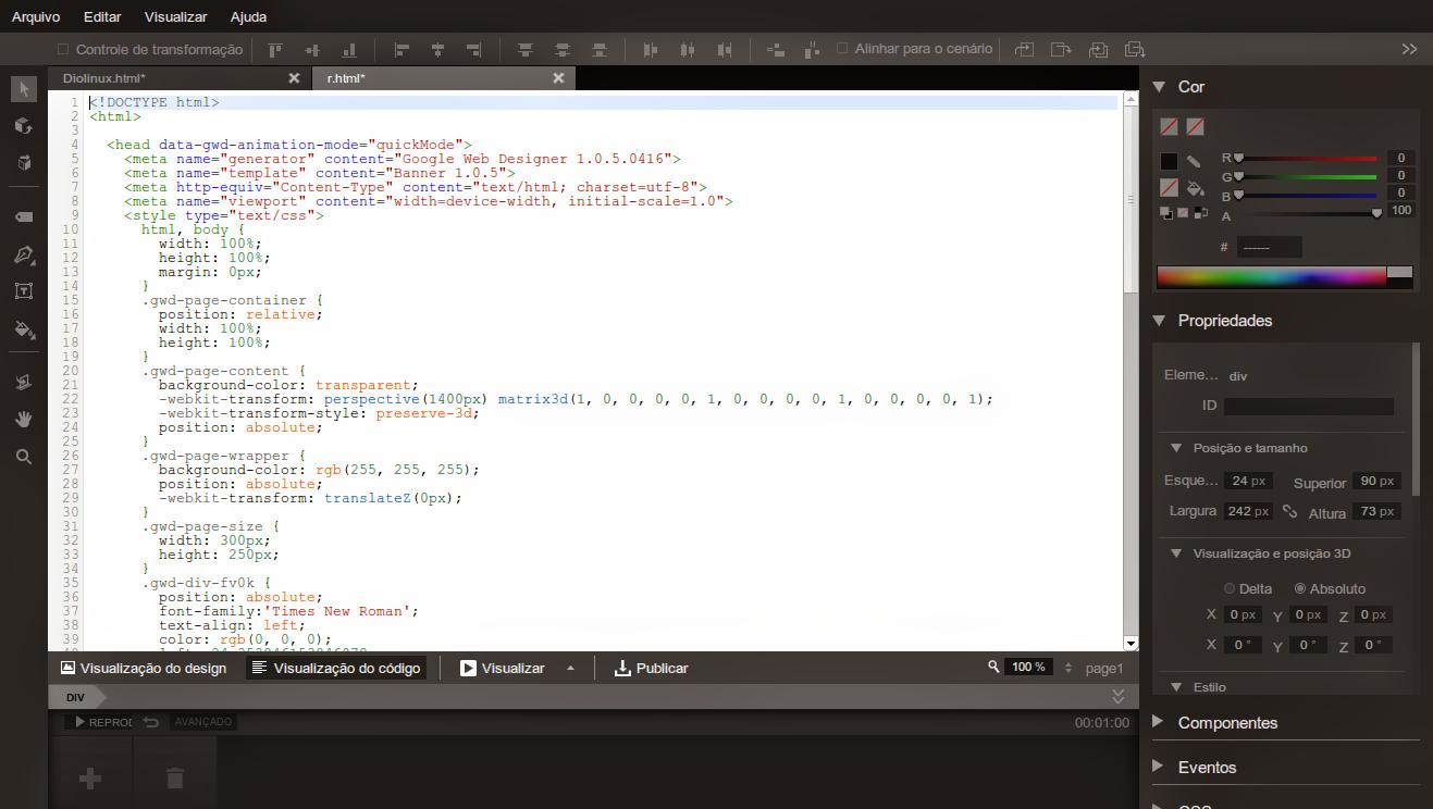 EDitor de códigos do Google Web Designer App