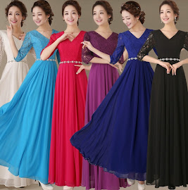 6-Color Half Sleeve Lace Top Sequin Waist Chiffon Dress