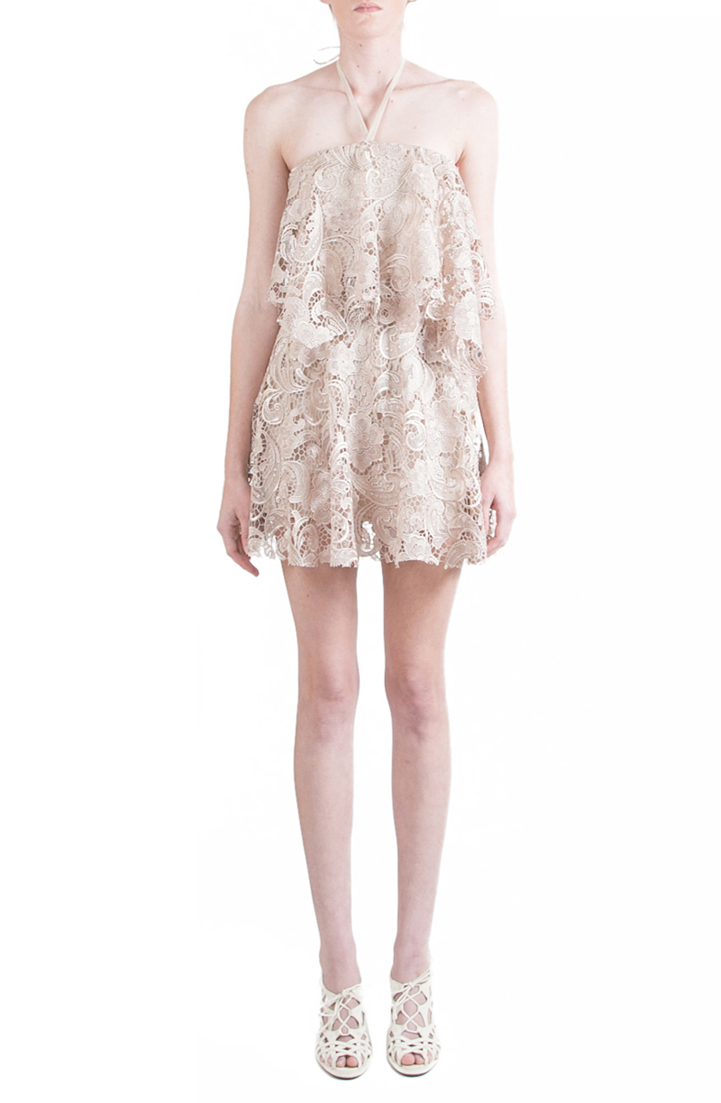 Alyssa Nicole Spring 2015, Lace Halter Dress, Nude Lace Dress, Halter Dress, Luxury Womenswear Collection