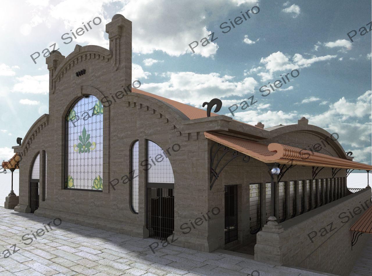 Works 3d edificio proxecto praza de abastos 1915 1918 - Arquitectos ourense ...