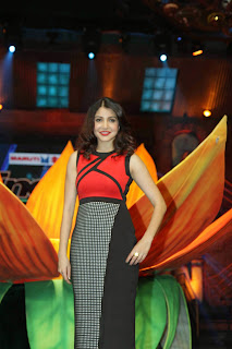 Anushka Sharma in Black Red Dress at Indias Got Talent To Promote her movie Bombay Velvet Spicy Beauty