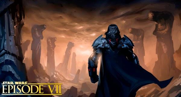 Ilustración de Korriban y un lord de los Siths