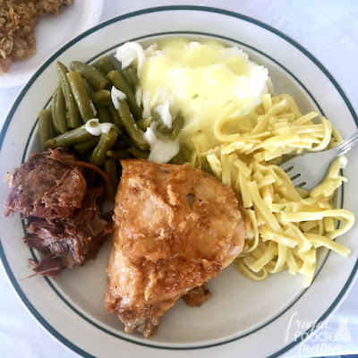A traditional Amish meal prepared by Erb's Catering in Ohio's Amish country.