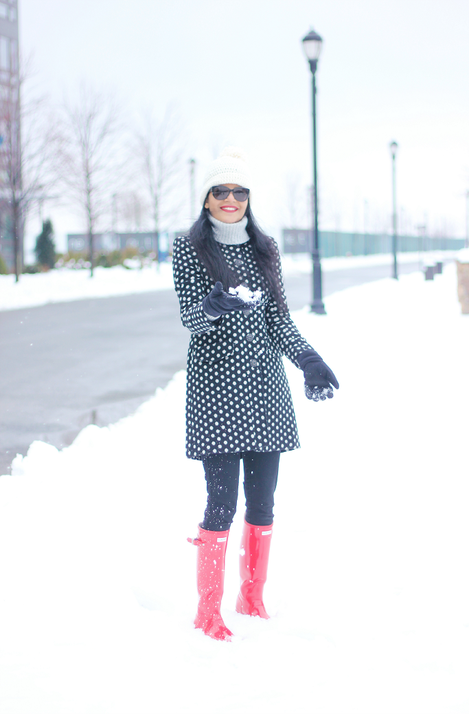 Polka Dot Coat, Target Polka Dot Coat, Red Hunter Boots, Tall Hunter Boots, Glossy Red Hunter Boots