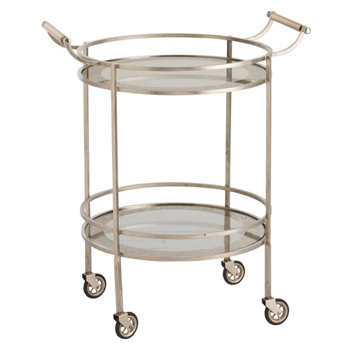 Zinc Door Arteriors Wade Vintage Silver Glass Bar Cart