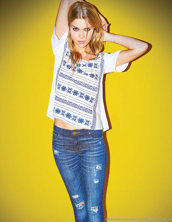 Jeans con influencia grunge continuan vigentes en la moda del verano 2015.