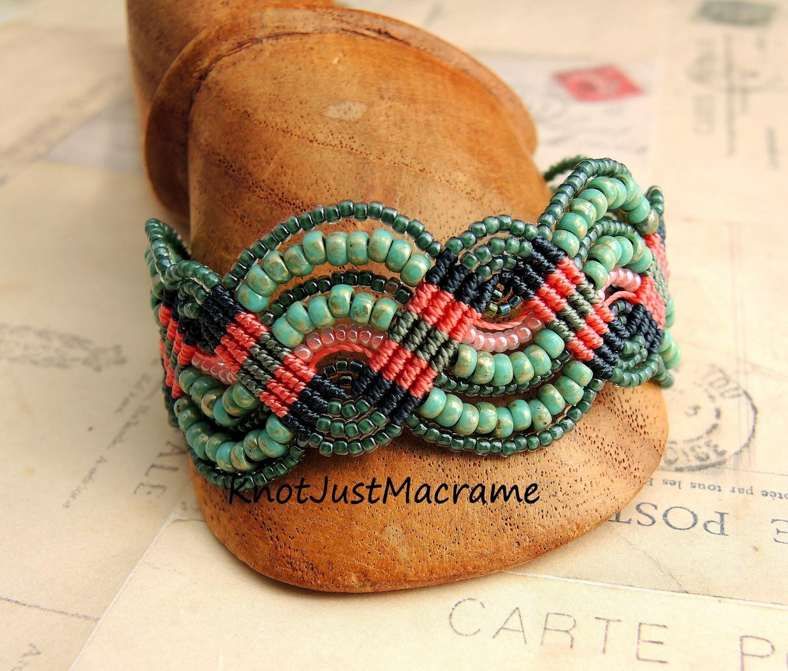 Matubo beads in Micro Macrame bracelet by Sherri Stokey