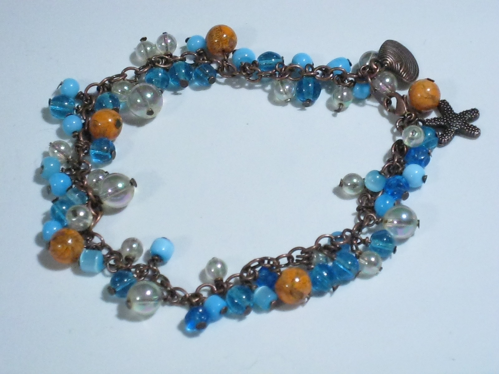 copper glass blue orange starfish seashell anklet chain beads