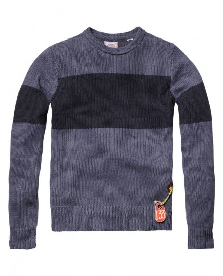 Heavy washed crew neck pull with stripes