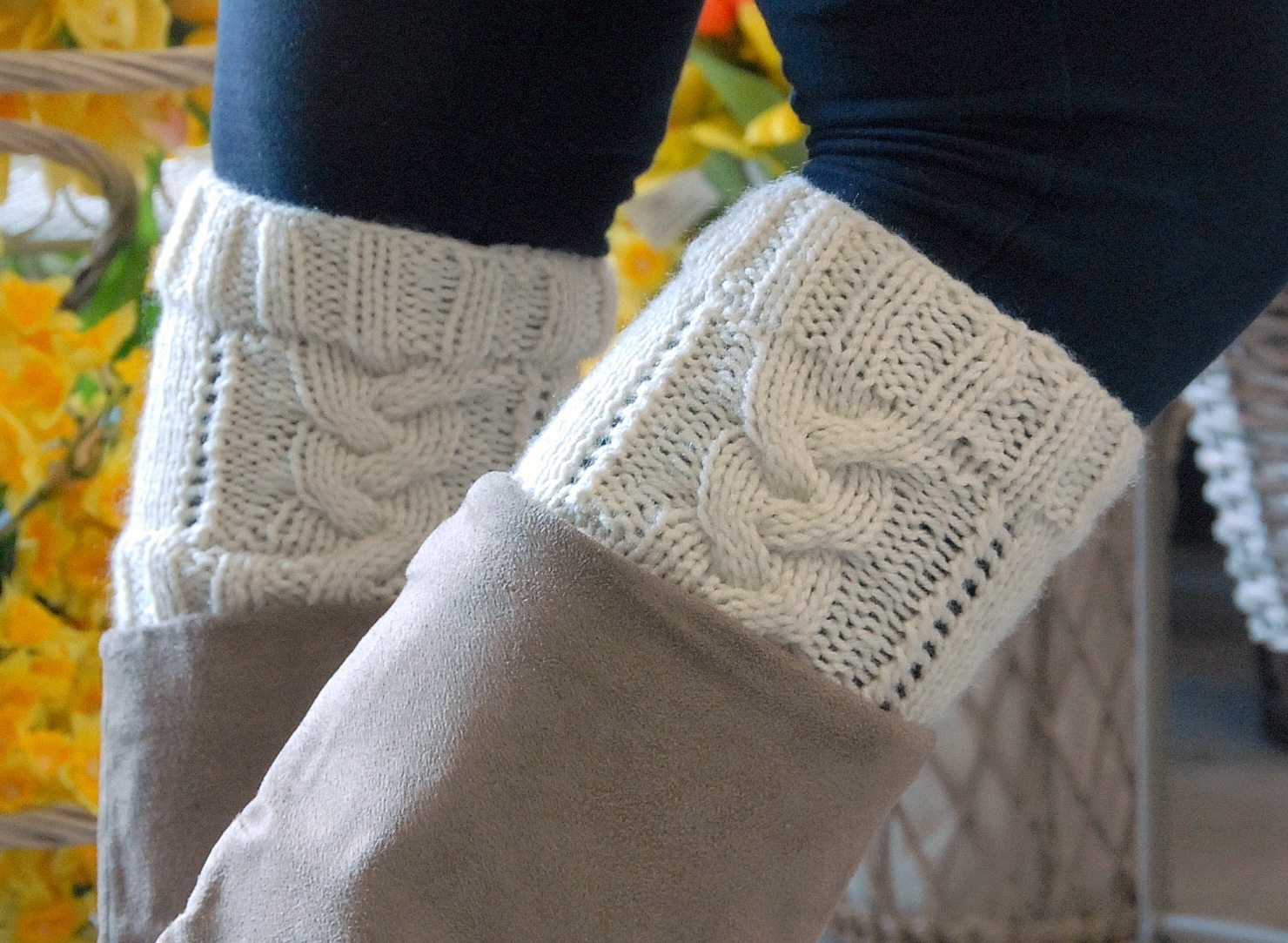 Free Knitting Pattern For Boot Cuffs : Ben Franklin Crafts and Frame Shop, Monroe, WA: Knitted Boot Cuffs FREE Pattern