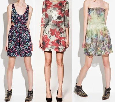 vestidos floreados de zara 2012
