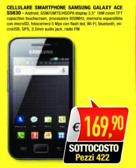 Prezzo basso in promozione per il Galaxy Ace smarpthone android